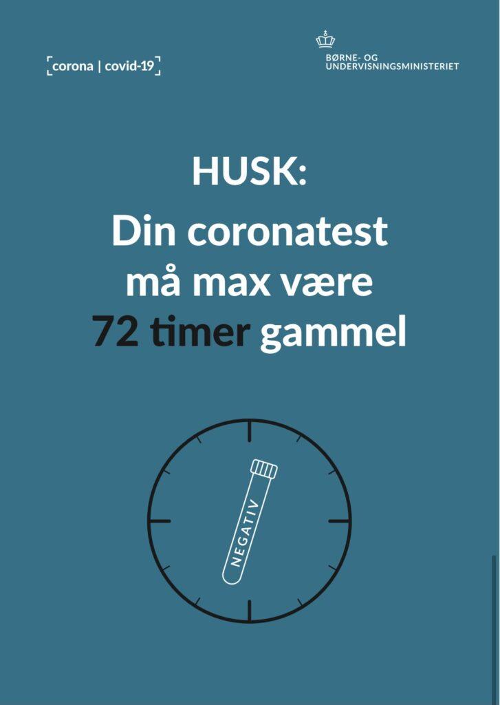 Husk: Din coronatest må max være 72 timer gammel